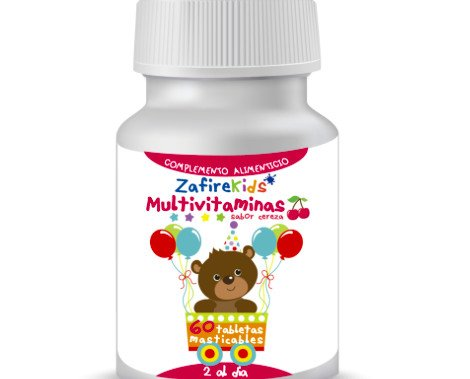 Zafire Kids Multivitaminas. Tabletas masticables, con multivitaminas para niñ@s.