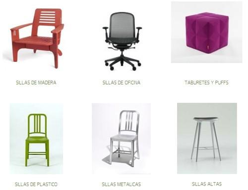 Mobiliario. Sillas, mesas, sofás, sillones, muebles de metal y más