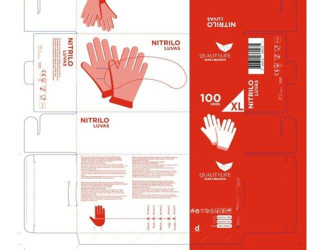 Guante de nitrilo. nitrilo sanitario, alimenticio e industrial, holograma de covid :374.1-5, 420, 455.