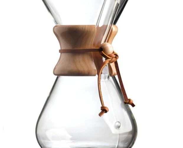 Cafetera Chemex. Cafetera de filtro Chemex, hecha de cristal e ideal para realizar 8 tazas de café.