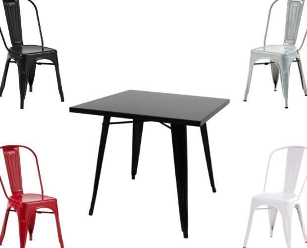 Silla y mesa tolix. Oferta hostelería silla y mesa tolix, industrial.