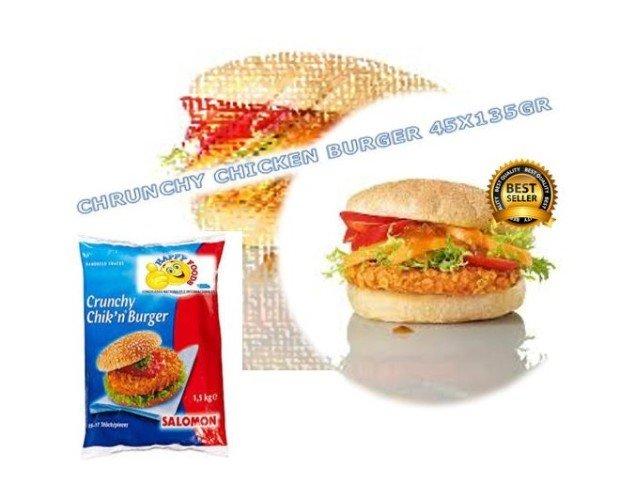 Chrunchy chic burger. Hamburguesa de pollo crujiente 135 gr alta calidad .