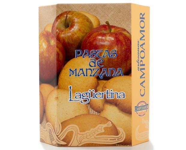 Pastas de manzana lagüertina. Caja con gallegas envasadas individualmente