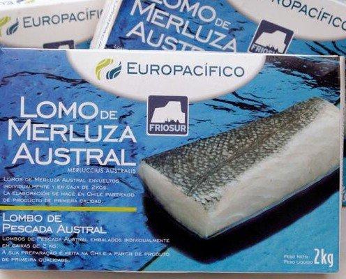 Lomo merluza austral. Formato caja 2 kg 200-300 grs. Pescado congelado