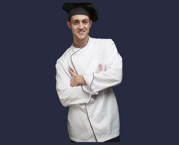 Chaquetas de cocinas con coolmax. Chaqueta cocina unisex manga larga con puño vuelto y costadillos posteriores de coolmax extreme