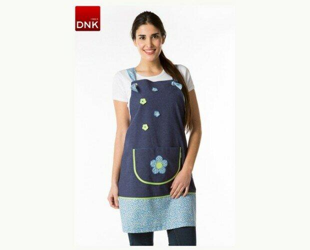 Pichi profesora. Tejido principal en color azul navy con parte inferior y tirante en estampado florecitas azul