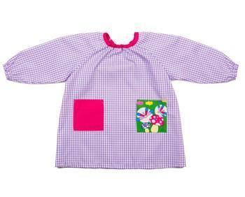 Babi guardería niña. Manga largo con tejido en cuadro lila