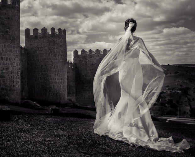 Novia muralla Avila. Reportaje post boda en muralla de Avila