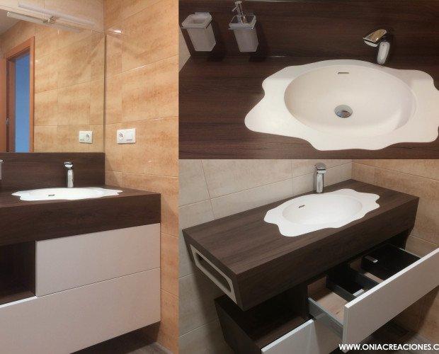 Mueble NUR. Mueble de baño diseñado y fabricado por ONIAcreaciones , reliazado en EGGER y Corian