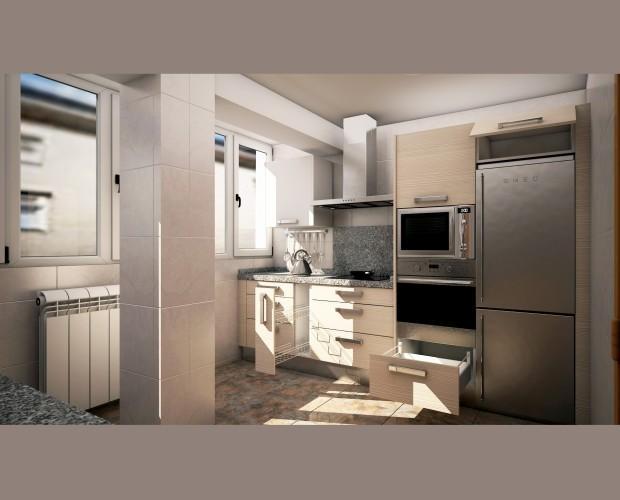 Cocina reformada. Proyecto de cocina para reforma de vivienda