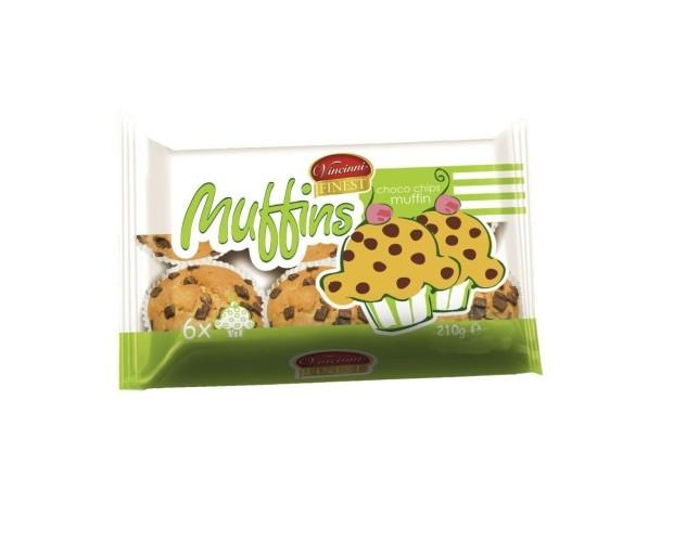 Muffins 6br 3D chips. Magdalenas de chispas de chocolate