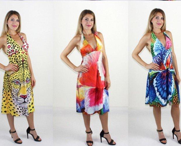 Vestidos cortos. Vestidos de verano con espalda abierta con un material muy agradable punto seda. Diseñado por la artista Helen Bellart y hecho a mano en España. Hay diferentes modelos y diseños.