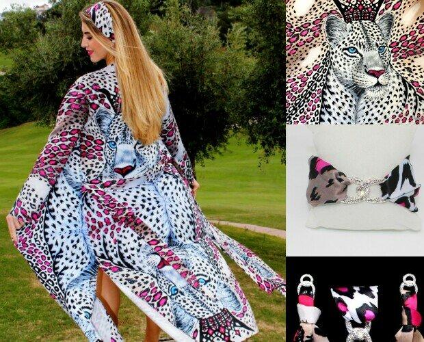 White leopard kimono. Exclusiva colección de kimonos y accesorios con diseños úncos hechos a mano.