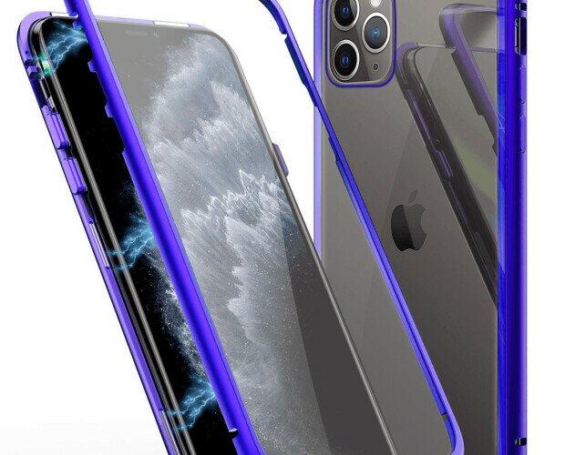 Funda mgnética azul. Su forma se ajusta perfectamente al iPhone 11 Pro Max