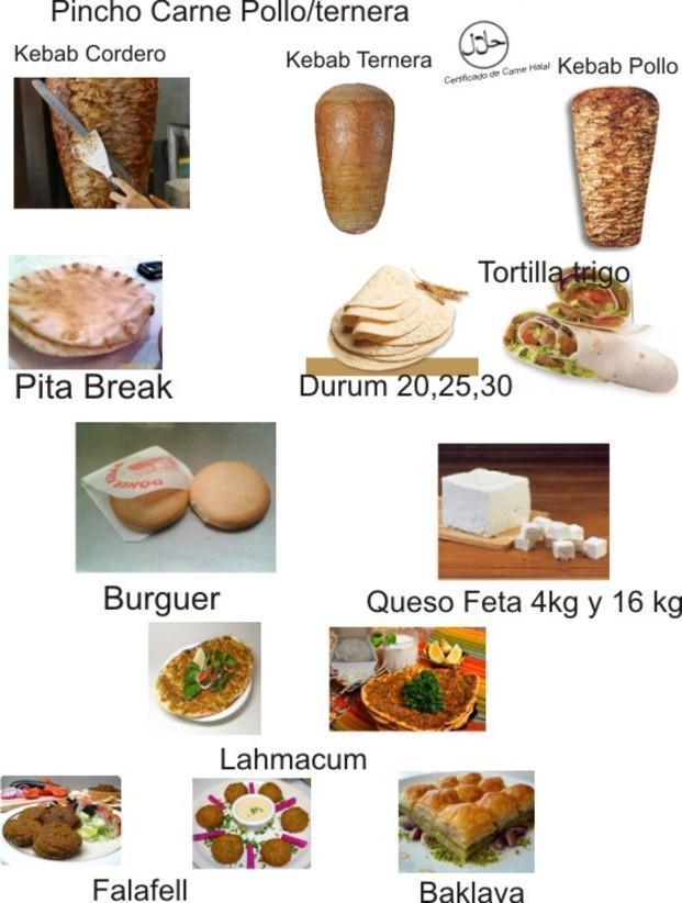Nuestro catálogo. Kebap, tortilla, queso feta, falafell