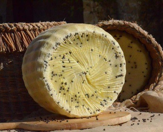 Queso Picurino. Variante del queso pecorino siciliano con pimienta negra en grano