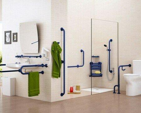 Ayudas Técnicas Sanitarias.Asideros de seguridad para cuarto de baño. Asideros abatibles para WC.