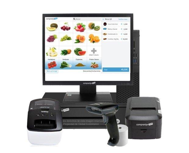 TPV para tiendas con impresora. Pack tpv con pantalla de 15