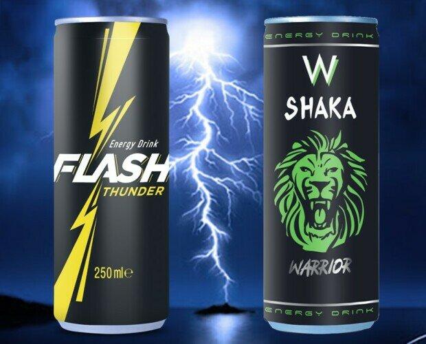 Bebidas Energéticas.FLASH THUNDER & SHAKA W ENERGY DRINK