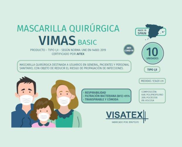 Mascarilla Vimas Basic. Producto sanitario, tipo IIR