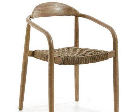 LUSS SB. Silla en cuerda sintética y estructura de madera. Disponibilidad de acabos.