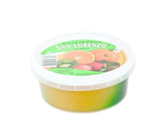 Dulce de Frutas 350g. Dulce de Frutas (Fresa, Naranja y Kiwi) en proporción variable.  Bote de 350 gr-
