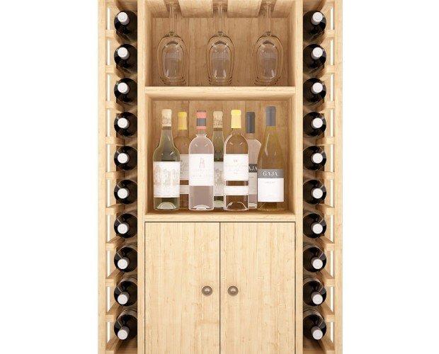 Botellero mixto Licores, Vinos y Copas. Práctico mueble botellero con puertas y estanterías con capacidad para 20 botellas de vino