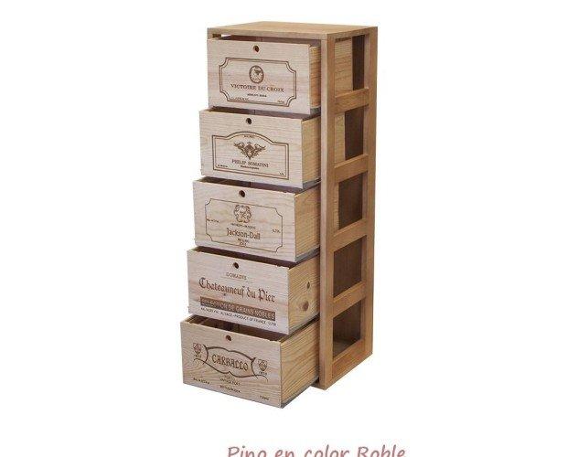 Botellero para 5 cajas de vino de madera. 5 cajas de 6 botellas grabadas al láser con motivos standard