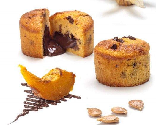 COULANT de Calabaza con Chocolate. Souffle de calabaza con trufa fundida en su interior