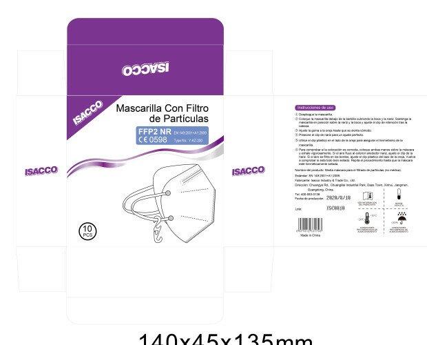 Mascarillas FFP2 isacco. Mascarillas con certificación . CE 0598
