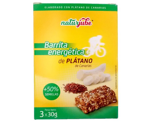 Barras energéticas de plátano. +50% semillas, barrita energética NATURJUBE