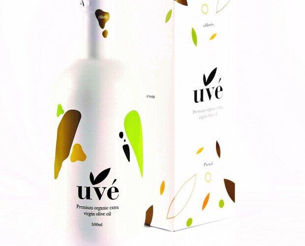 Uvé Chloris. Botella serigrafiada inspirada en el pájaro verdón y en color para reservar calidad.