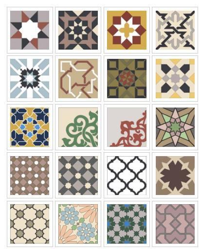 Mosaicos. Variedad de mosaicos hidráulicos y baldosas