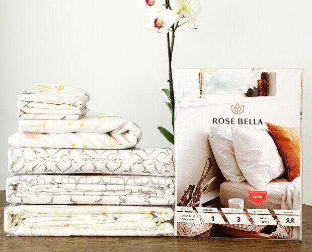 ROSE BELLA - Juego de Ropa de Cama. 100% algodón Saten.   Funda de edredon 140x220 cm + Funda de Almohada 80x80cm