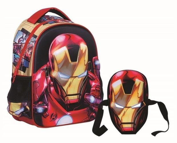 Mochila relieve 3D 31cm. Mascara de regalo de IronMan