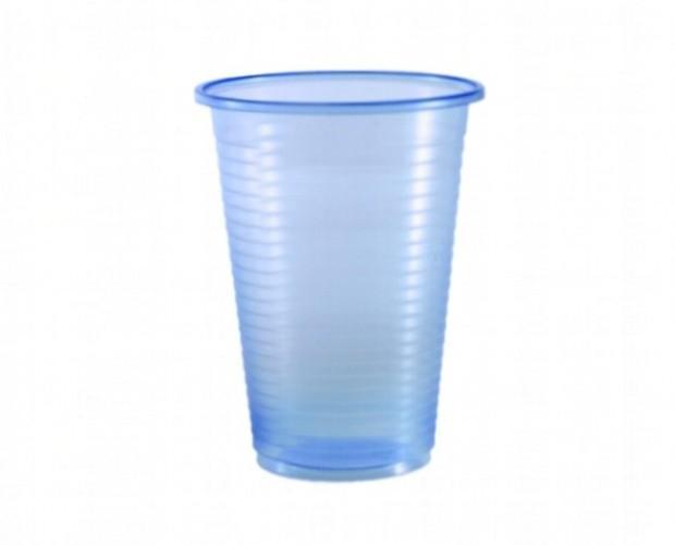 Vasos de plástico PP. Vasos de plástico PP azul. Caja de 1.000 unidades.