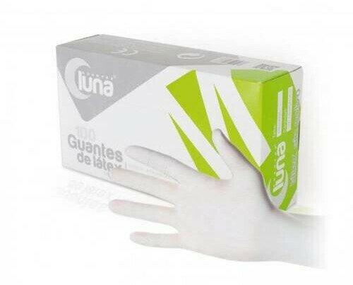 Guante de látex sin polvo. Guante de color blanco muy resistente