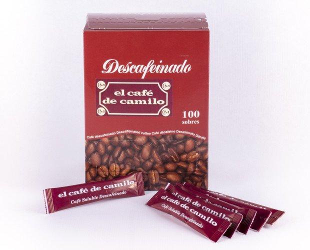 Café Descafeinado Soluble. Contiene 100 sobres