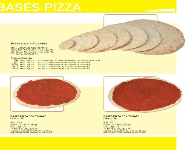 Bases de Pizza. Disponemos también de bases con salsa de tomate.