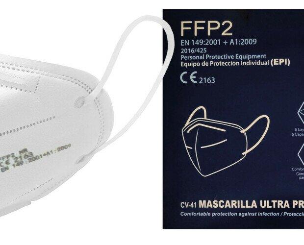 Mascarillas FFP2 blancas. Las mascarillas tienen sus certificados de homologación correspondiente.