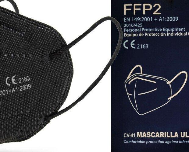 Mascarillas FFP2 negras. Homologación 149:2001+A1:2009.