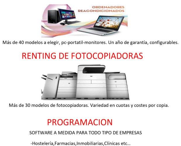 Alquiler de equipos informáticos. Renting de fotocopiadores y diseño web.