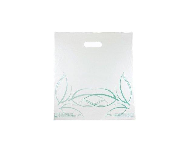 Bolsa Asa Troquel. Biodegradable, con logo estampado