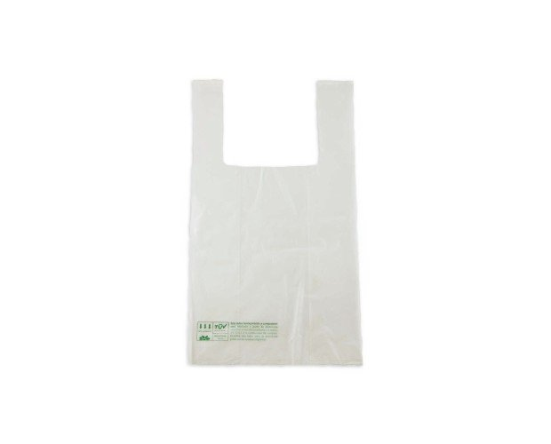 Bolsa Camiseta Biodegradable. Lisa 30/20/35cm x 200 uds