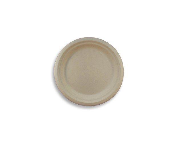 Plato Biodegradable. Elaborado con caña de azúcar en color natural