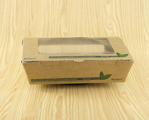 Envase Kraft Ventana. Con tapa bisagra y laminado de PLA.