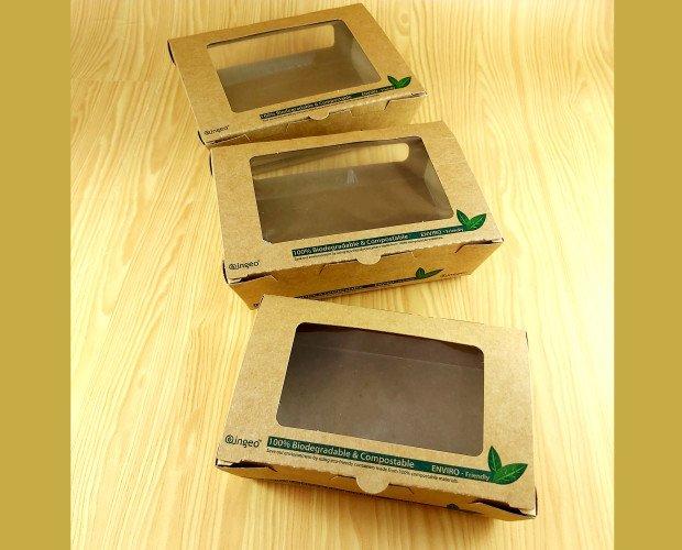 Cajas Cartón Kraft. Con ventana de PLA para ensaladas, sushi, pasteleria.