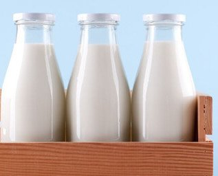 Lácteos. Botellas de leche