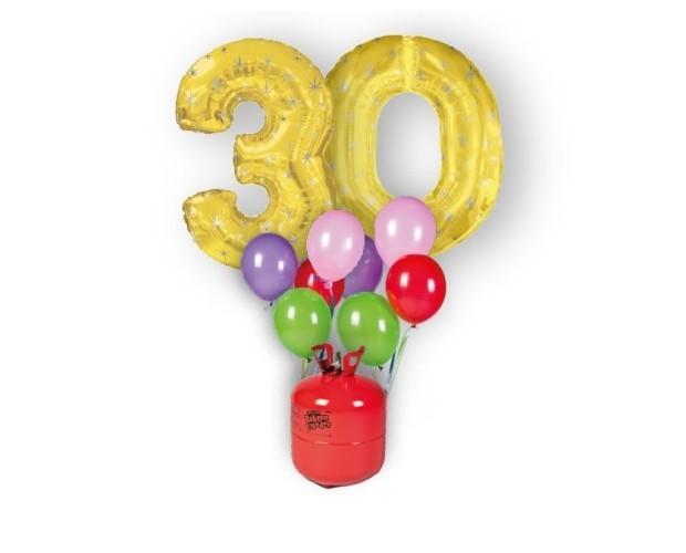 Bombona de helio y números. Pack globos números, bombona y globos
