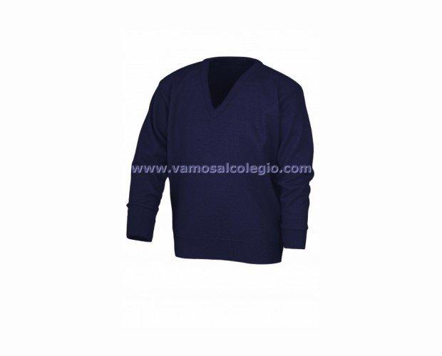 Jersey Cuello Pico Azul. Lleva tratamiento anti-bolas, por lo que se garantiza su duración en correcto estado